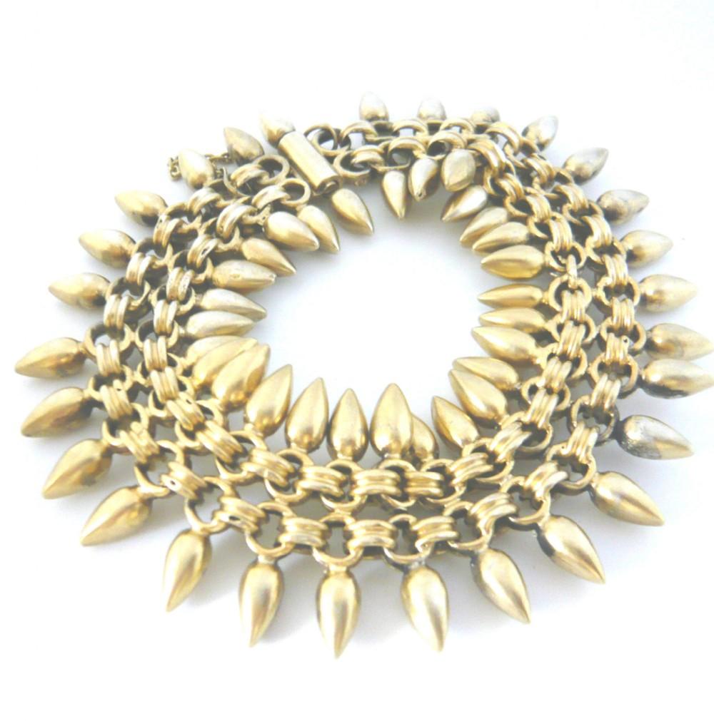victorian silver gilt chain link wide bracelet