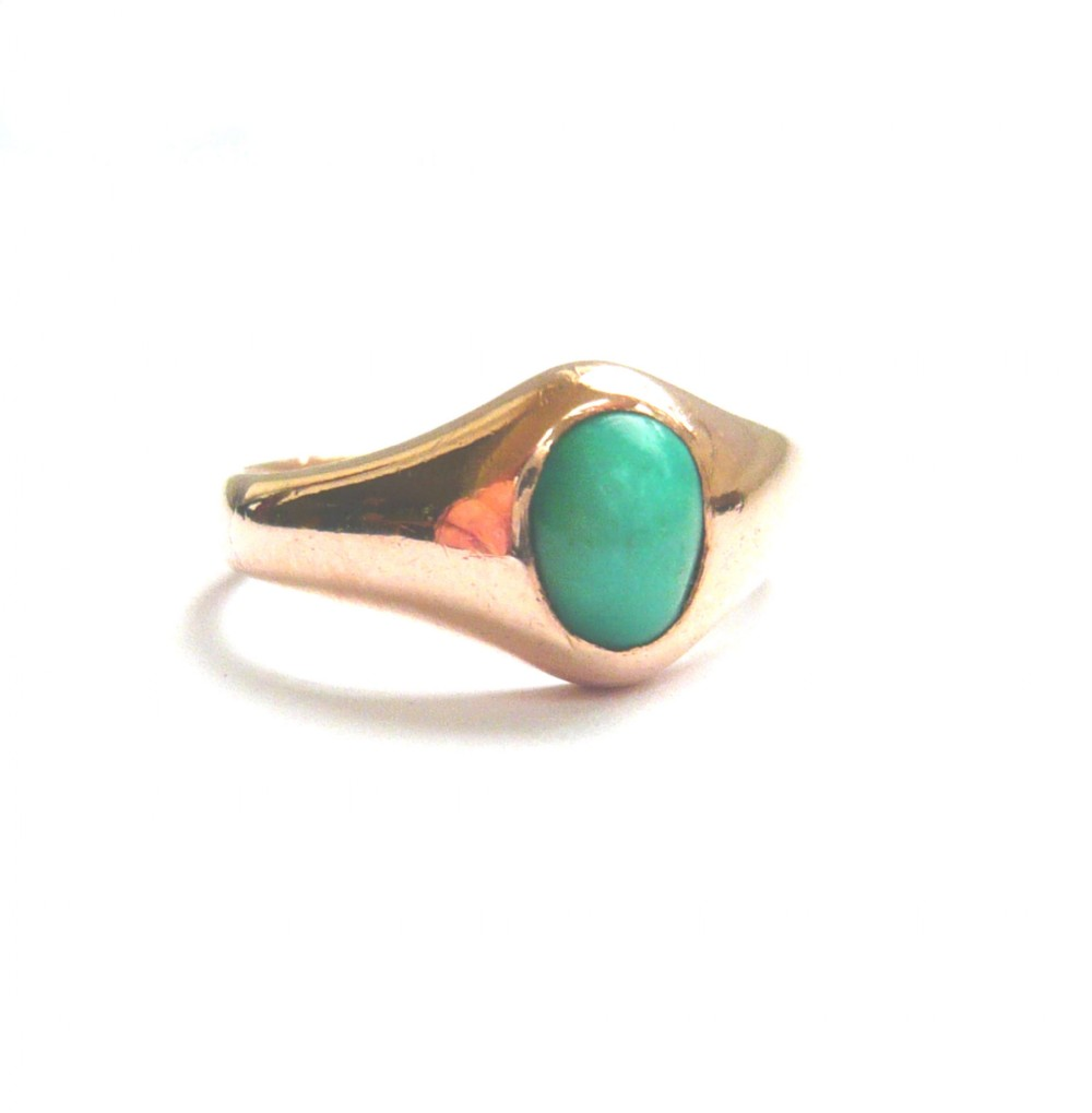 victorian 9ct rosy gold turquoise solitaire ring