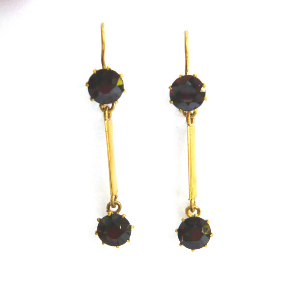 edwardian 15ct gold garnet drop earrings