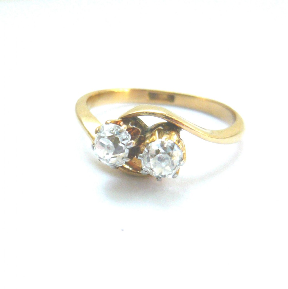 edwardian 18ct gold old mine cut diamond moi et toi ring