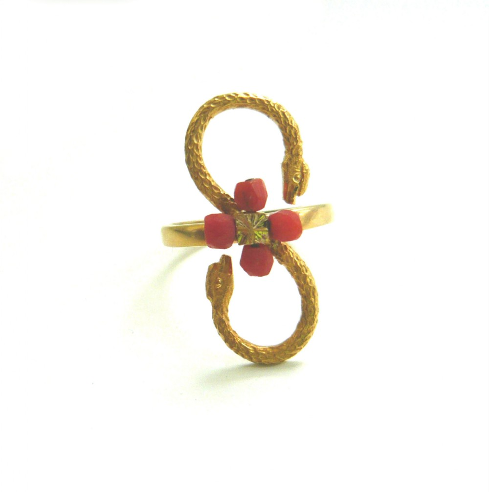 victorian 9ct gold conversion ring with snakes coral