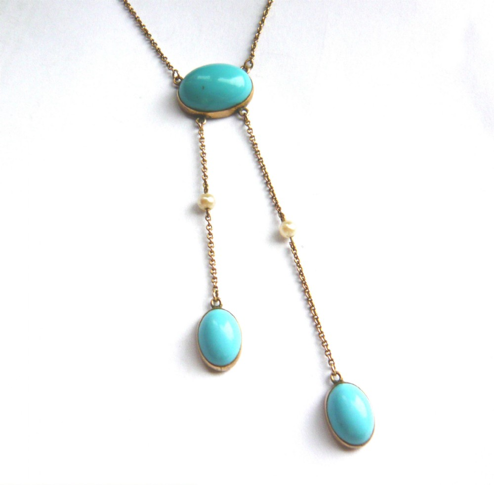 edwardian 9ct gold turquoise paste pearl negligee necklace