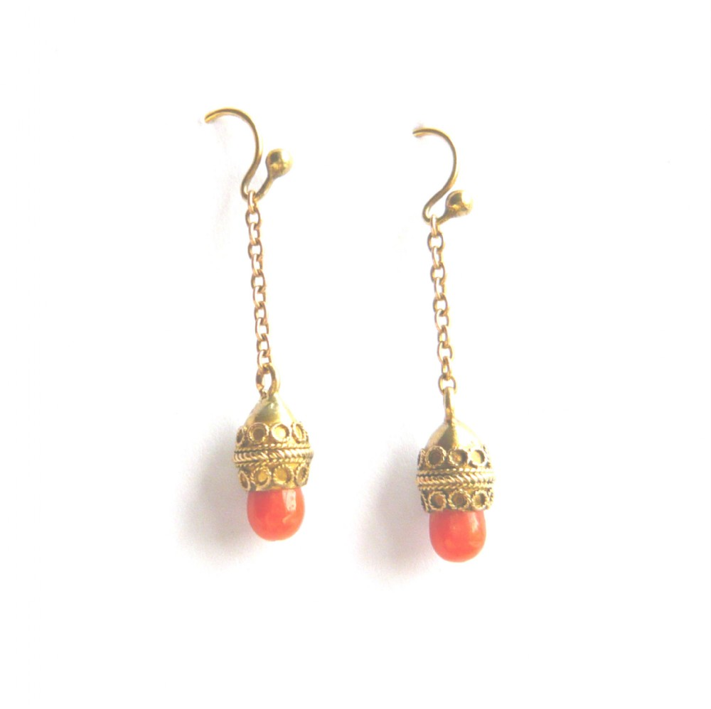 victorian 15ct gold coral acorn drop earrings
