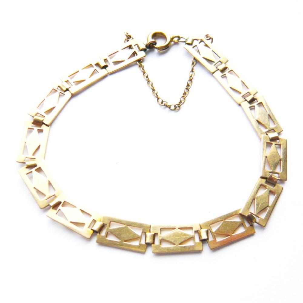 art deco 9ct gold decorative panel bracelet