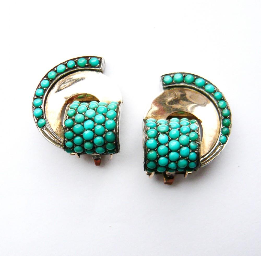 vintage 9ct gold clip on pav turquoise fan earrings
