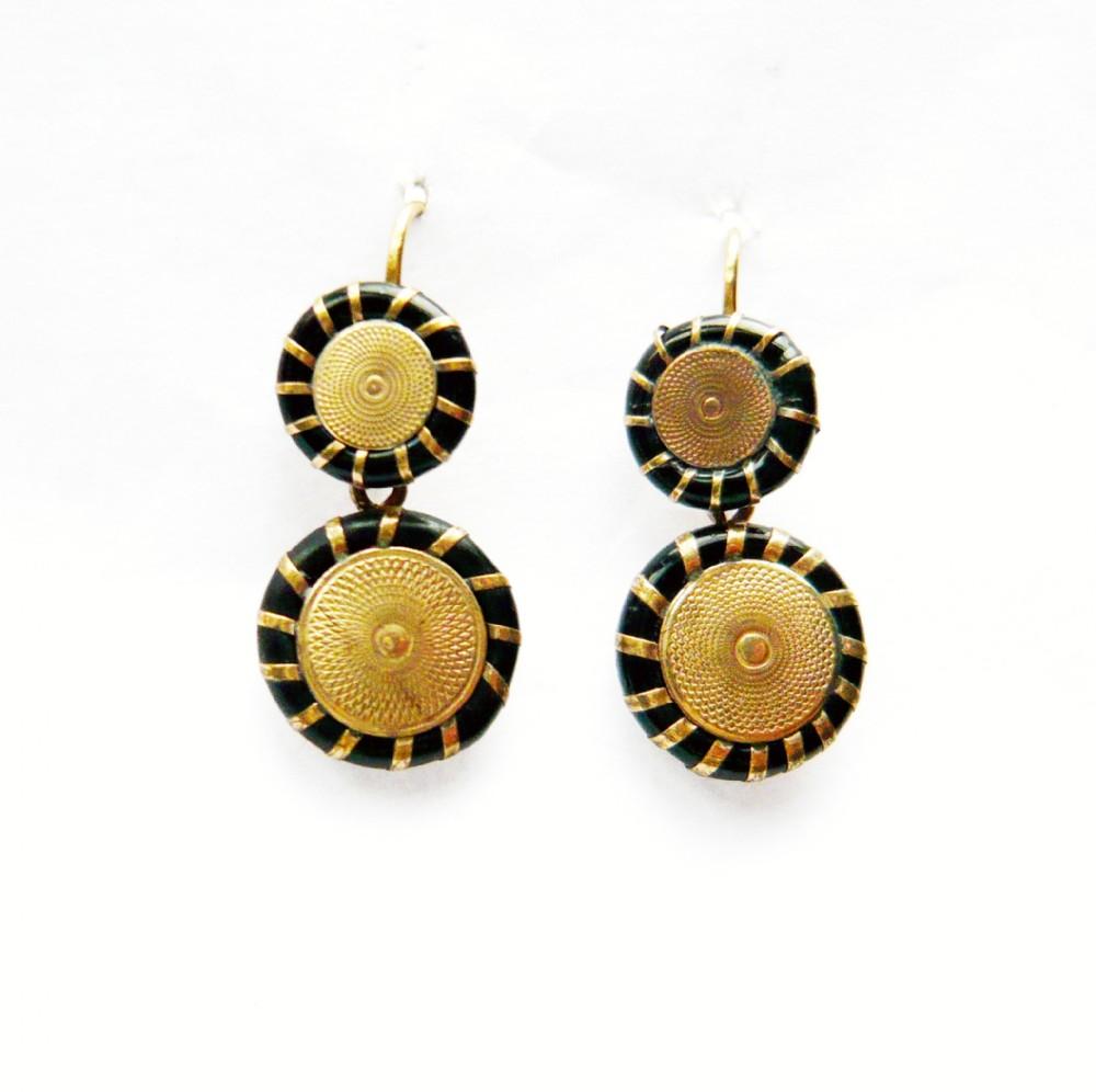 victorian black enamel disc earrings