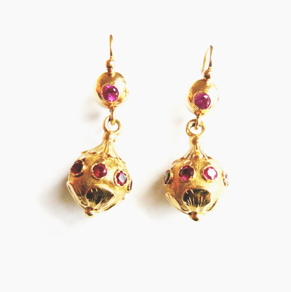 arts crafts french 18kt gold synthetic ruby drop earrings