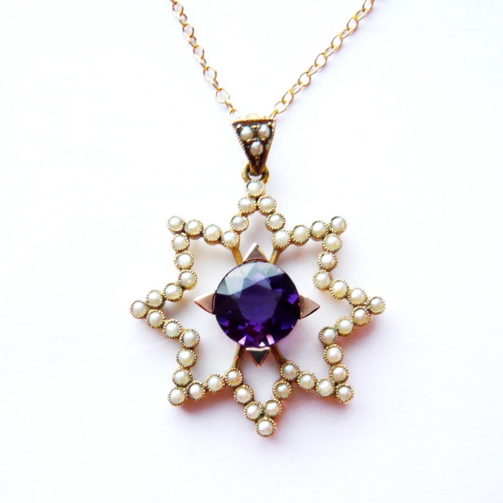 edwardian 15ct gold amethyst seed pearl star pendant