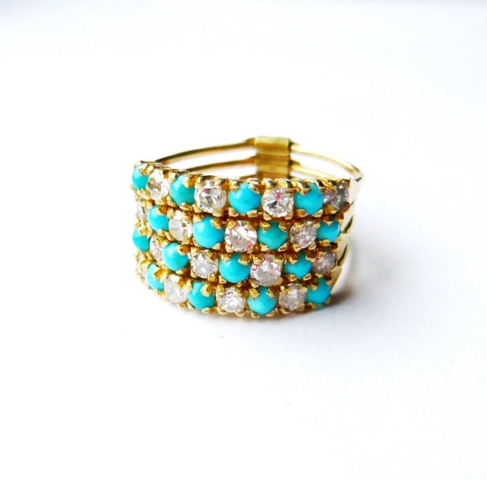 vintage 18kt gold turquoise diamond harem ring