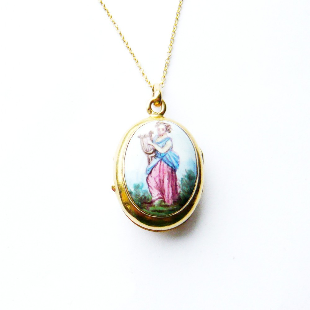 victorian french 18ct gold painted porcelain locket