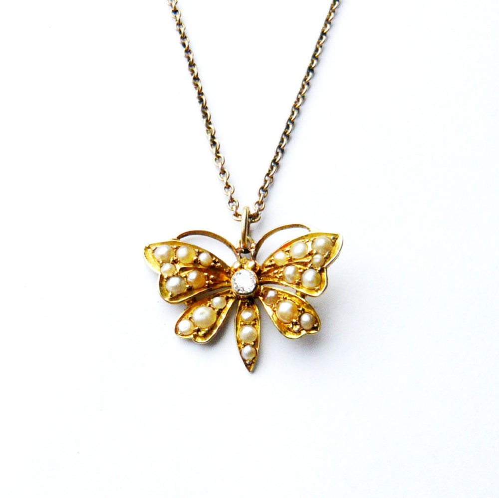 victorian 15ct gold seed pearl diamond butterfly pendant on chain