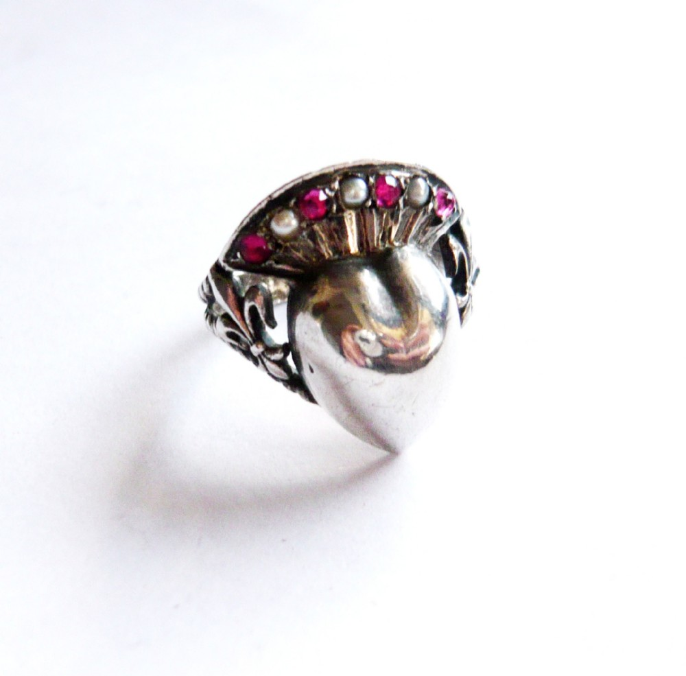 victorian silver crowned heart pearl paste ring