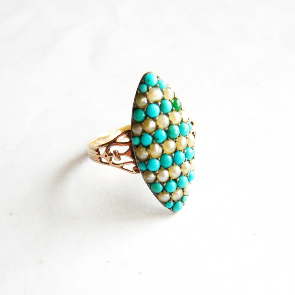 victorian 18ct gold pav turquoise pearl marquise ring