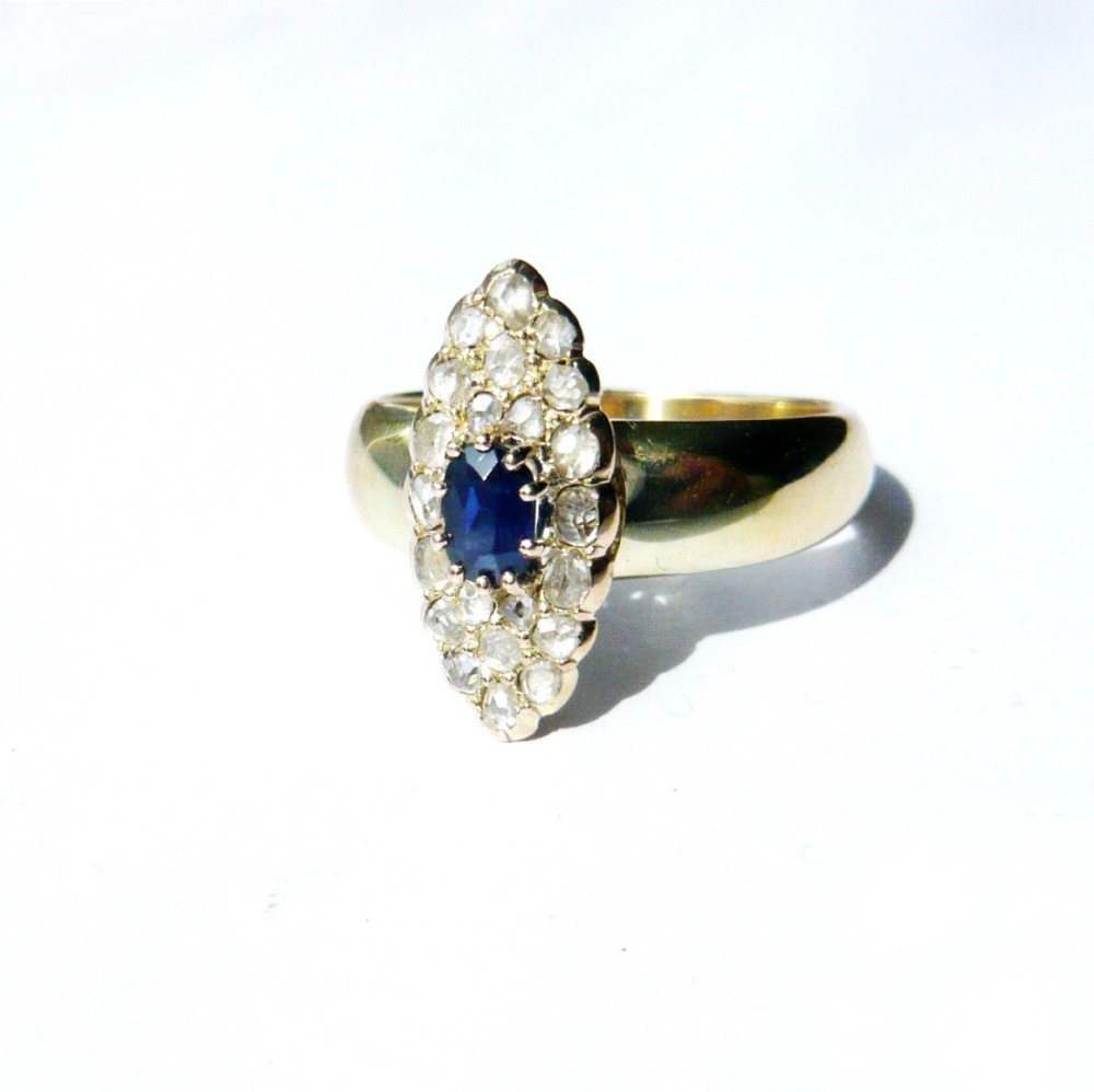 antique 14kt gold sapphire rose diamond marquise ring
