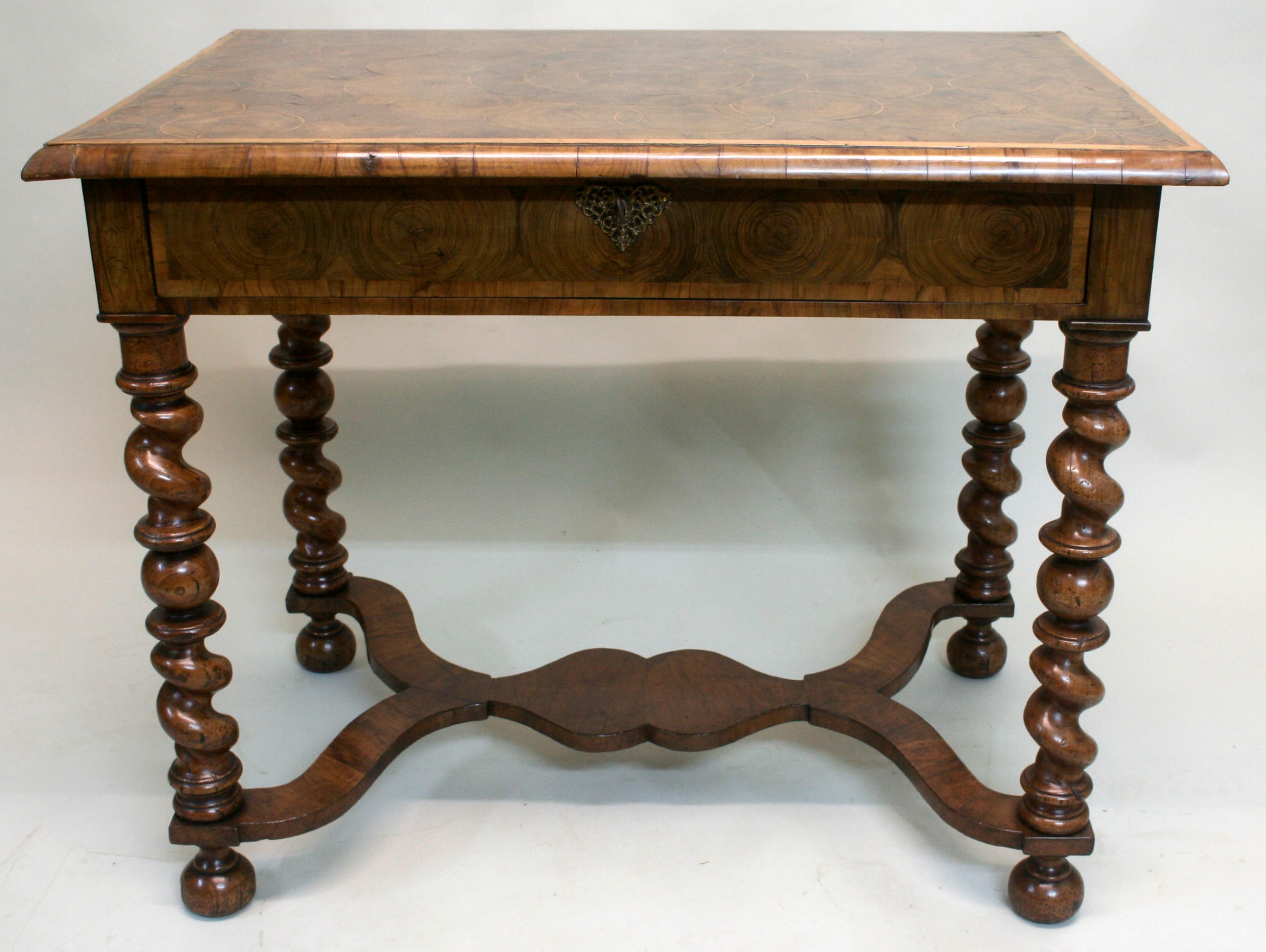 17th century olive oyster stretcher table