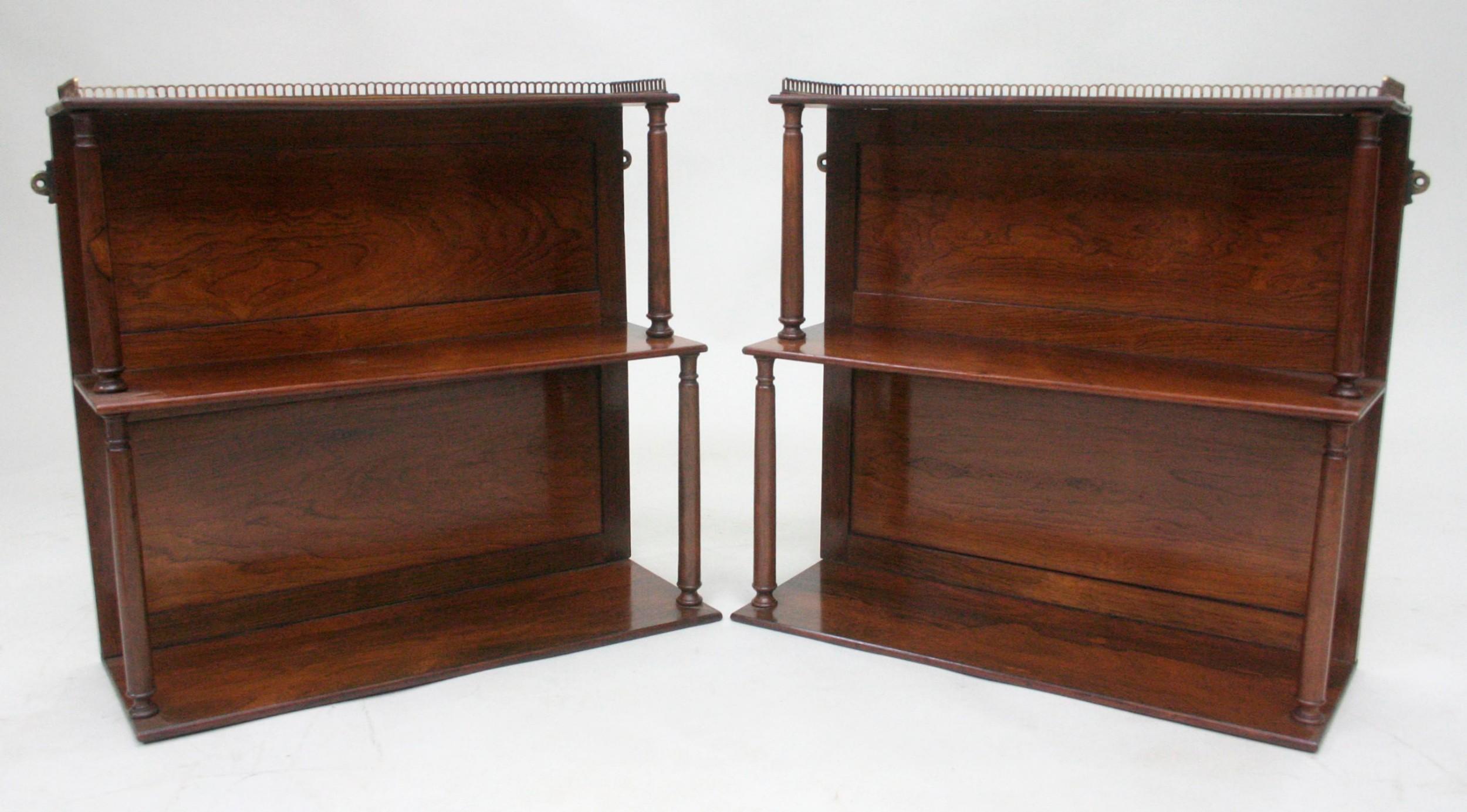 pair of regency rosewood hanging shelves