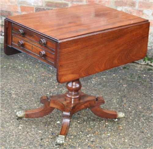 regency mahogany 2 drawer pedestal dropleaf pembroke work table on quadruped legs