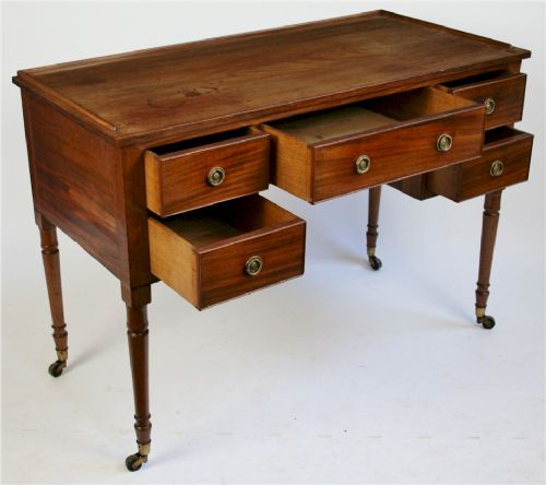 george 1v mahogany kneehole side table having 5 oak lined drawers - photo angle #2