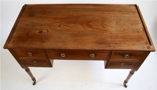 george 1v mahogany kneehole side table having 5 oak lined drawers - photo angle #3