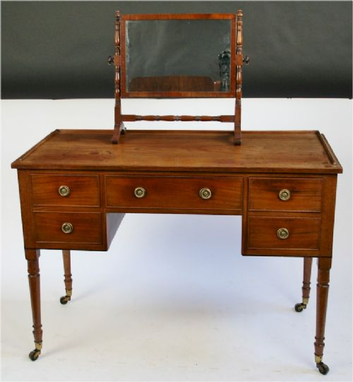 george 1v mahogany kneehole side table having 5 oak lined drawers - photo angle #4