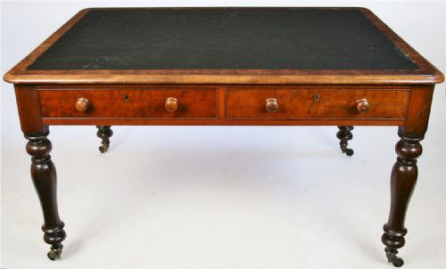 william 1v mahogany partners desk having 4 mahogany lined drawers