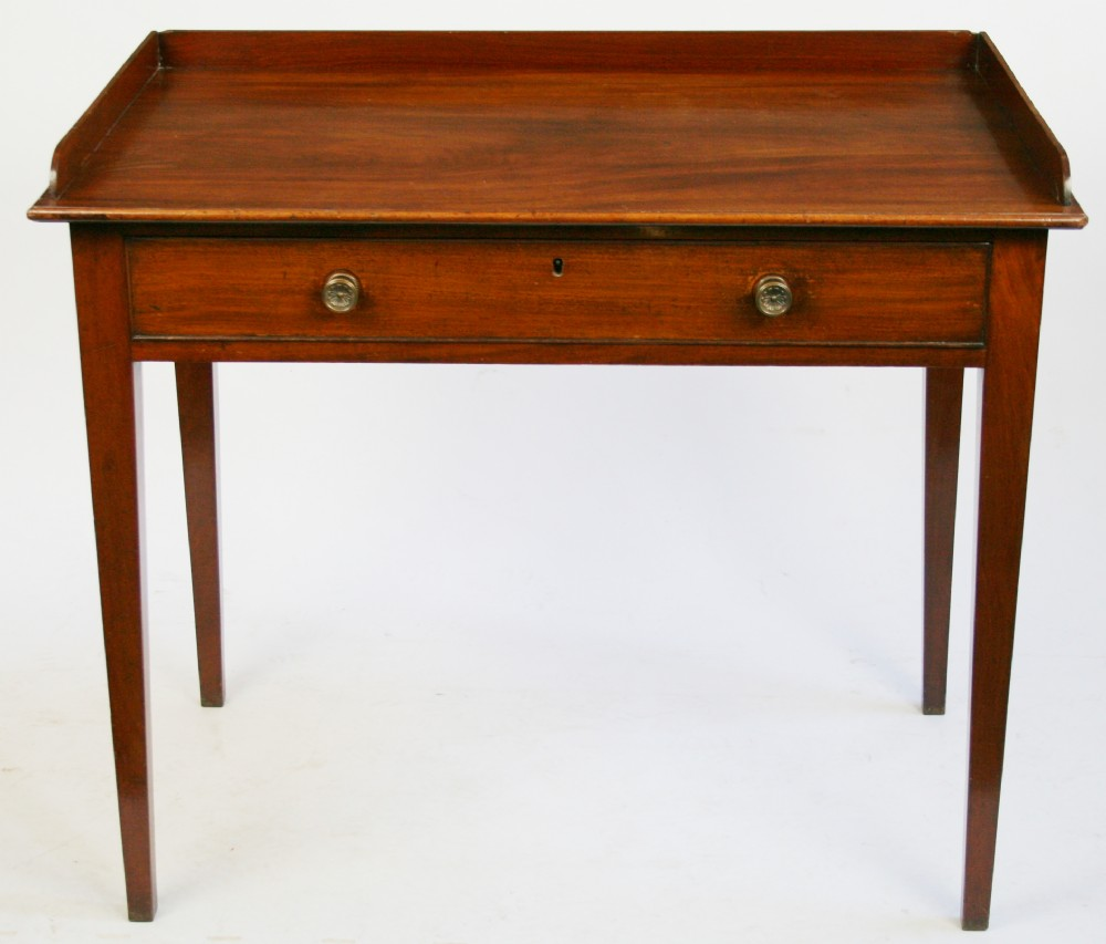 george 111 mahogany 1 drawer side table on square tapered legs