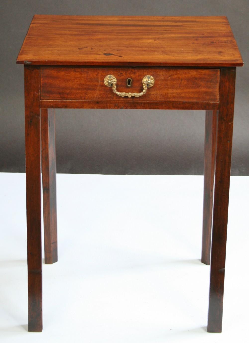 George 111 Mahogany Single Drawer Lamp Table. Antique Photo