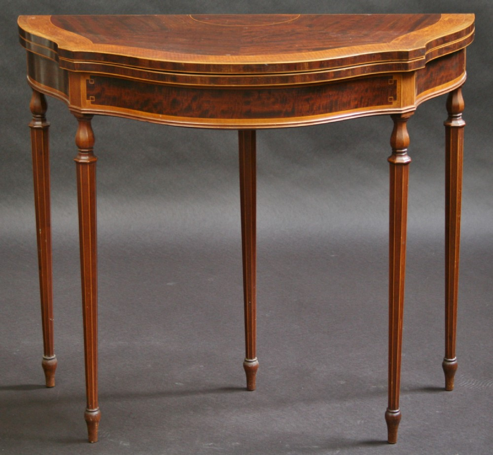 Edwardian Inlaid Shaped Half Round Card Table