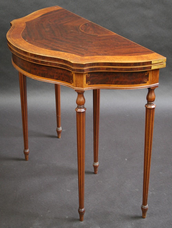 Edwardian inlaid shaped half round card table 291829 sellingantiques co uk