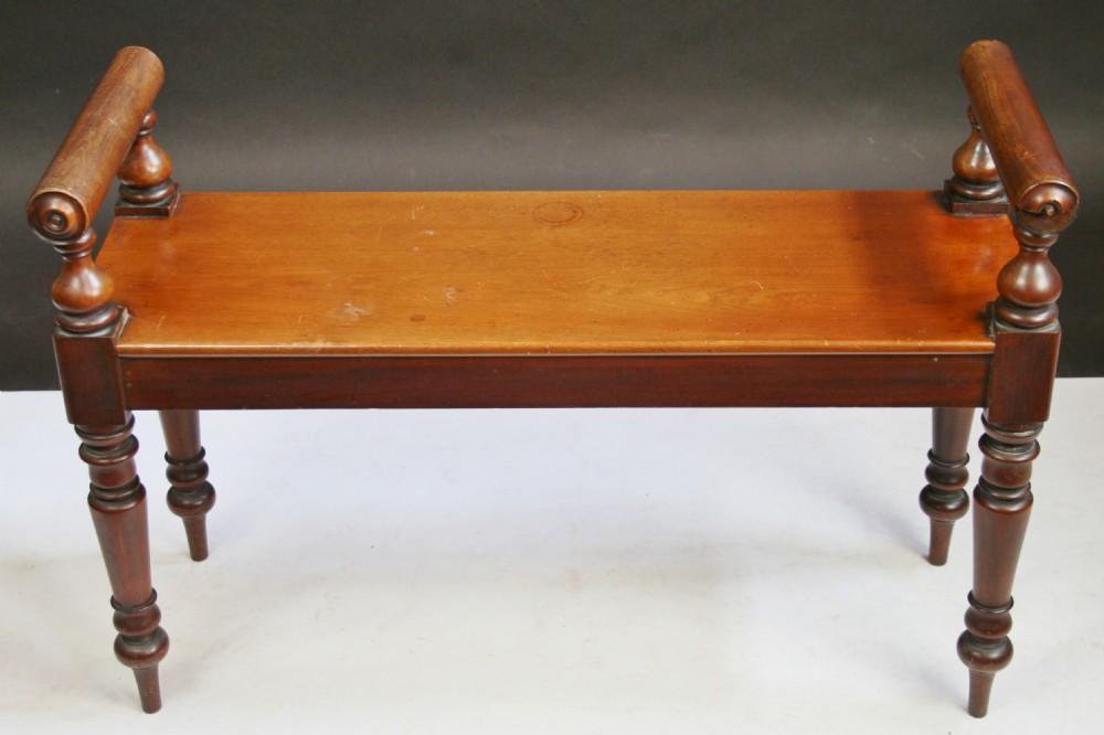 victorian mahogany 'roll end' hall bench