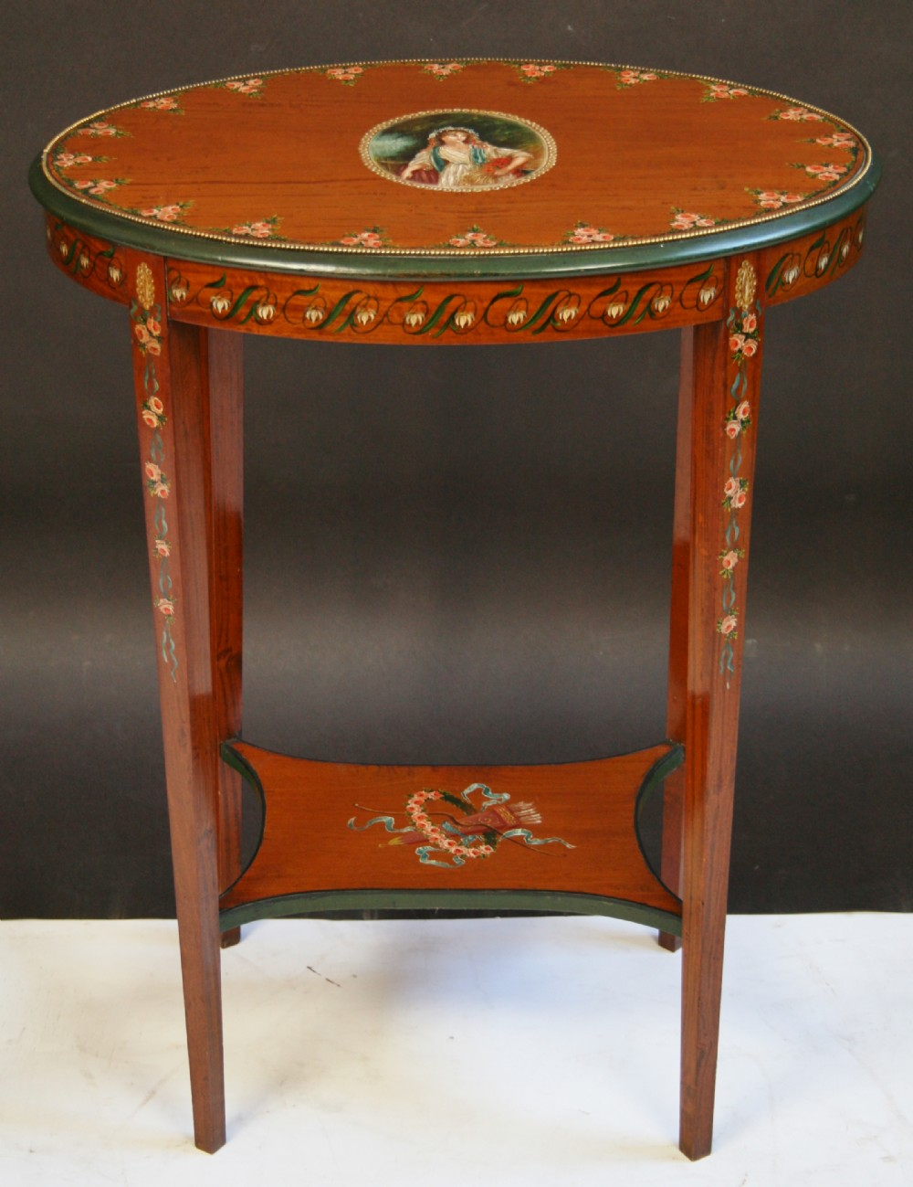 edwardian satinwood oval occasional table with painted decoration