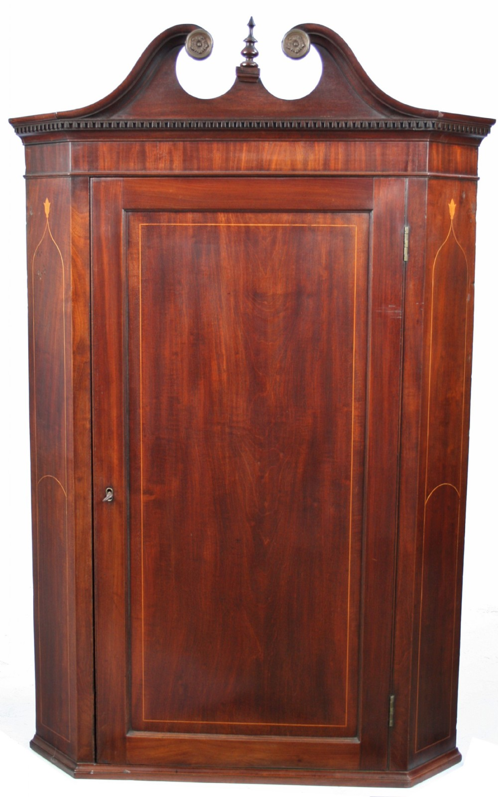 george iii mahogany inlaid hanging corner cupboard