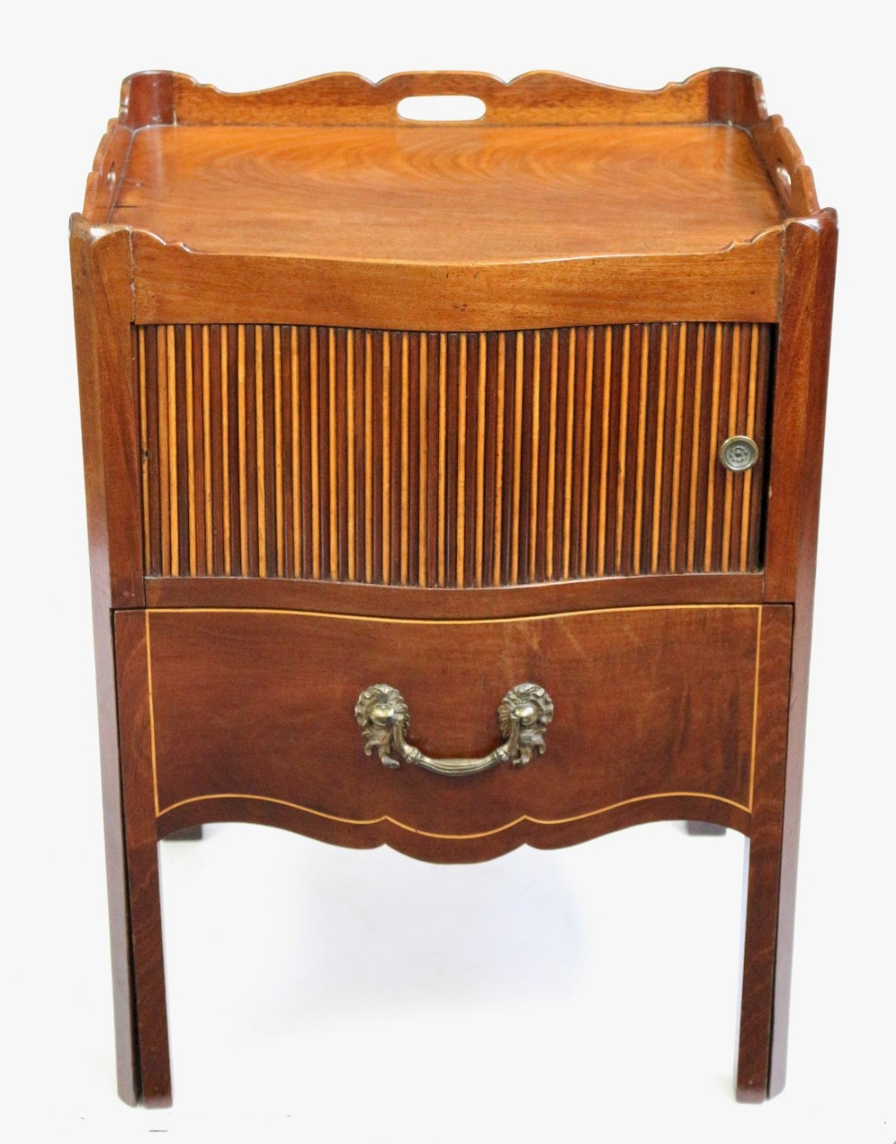 george 111 mahogany inlaid serpentine tray top commode