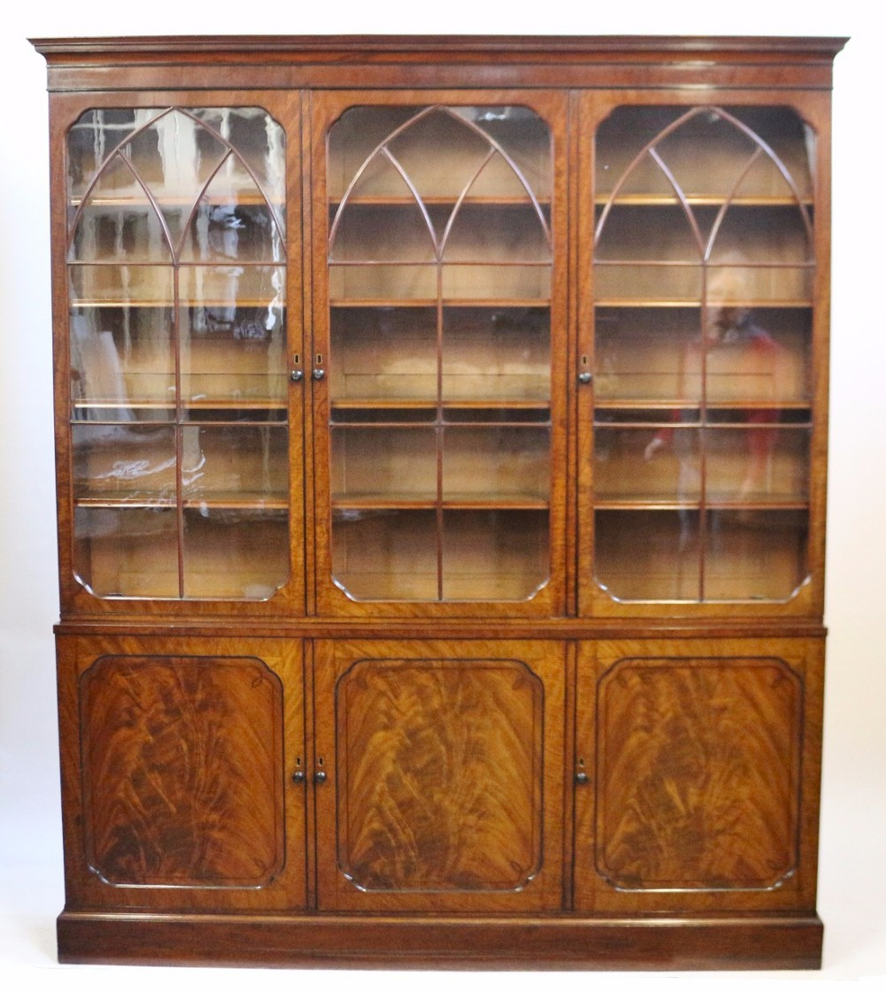 fine regency mahogany 3 door bookcase