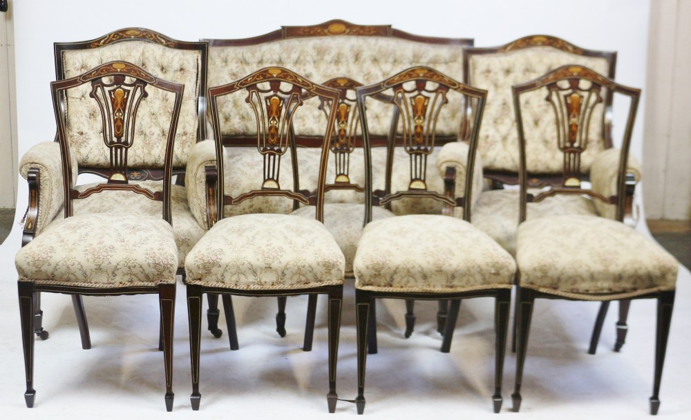 good quality late victorian inlaid mahogany 8 piece parlour suite