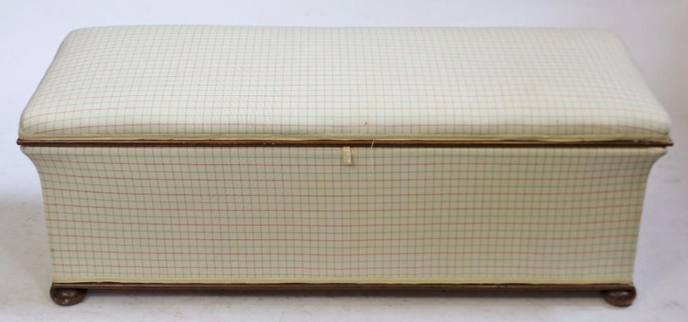 victorian mahogany framed upholstered box ottoman seat