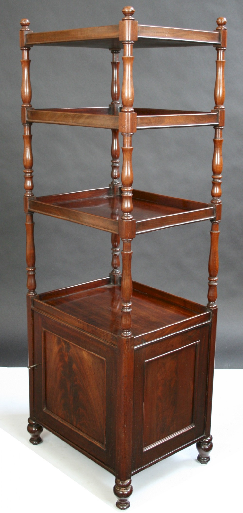 george iv mahogany 4 tier whatnot with cupboard base