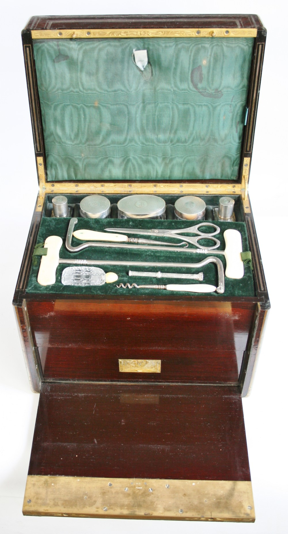 19th century french rosewood and brass inlaid dressing box