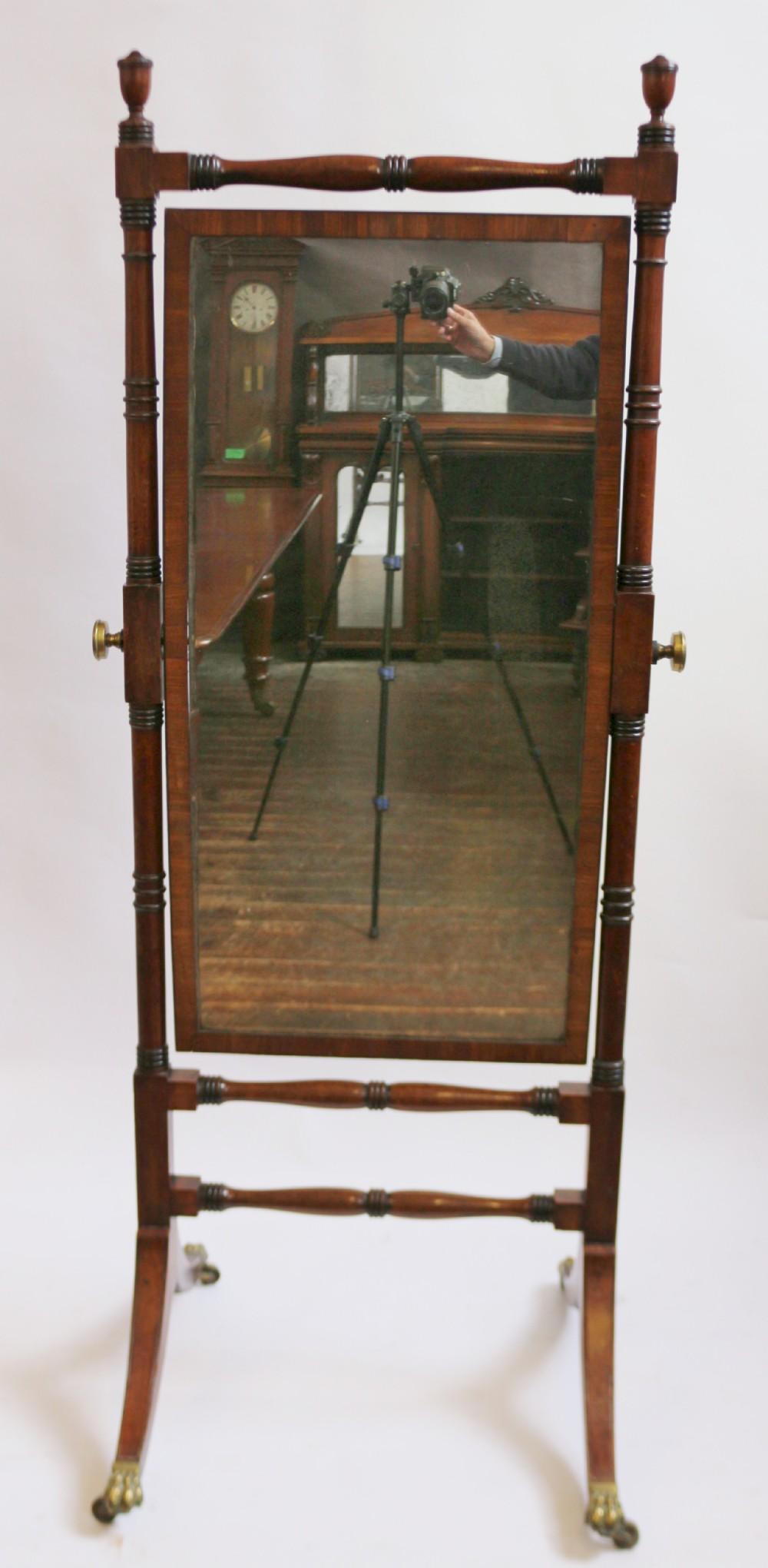 regency mahogany cheval mirror within turned frame