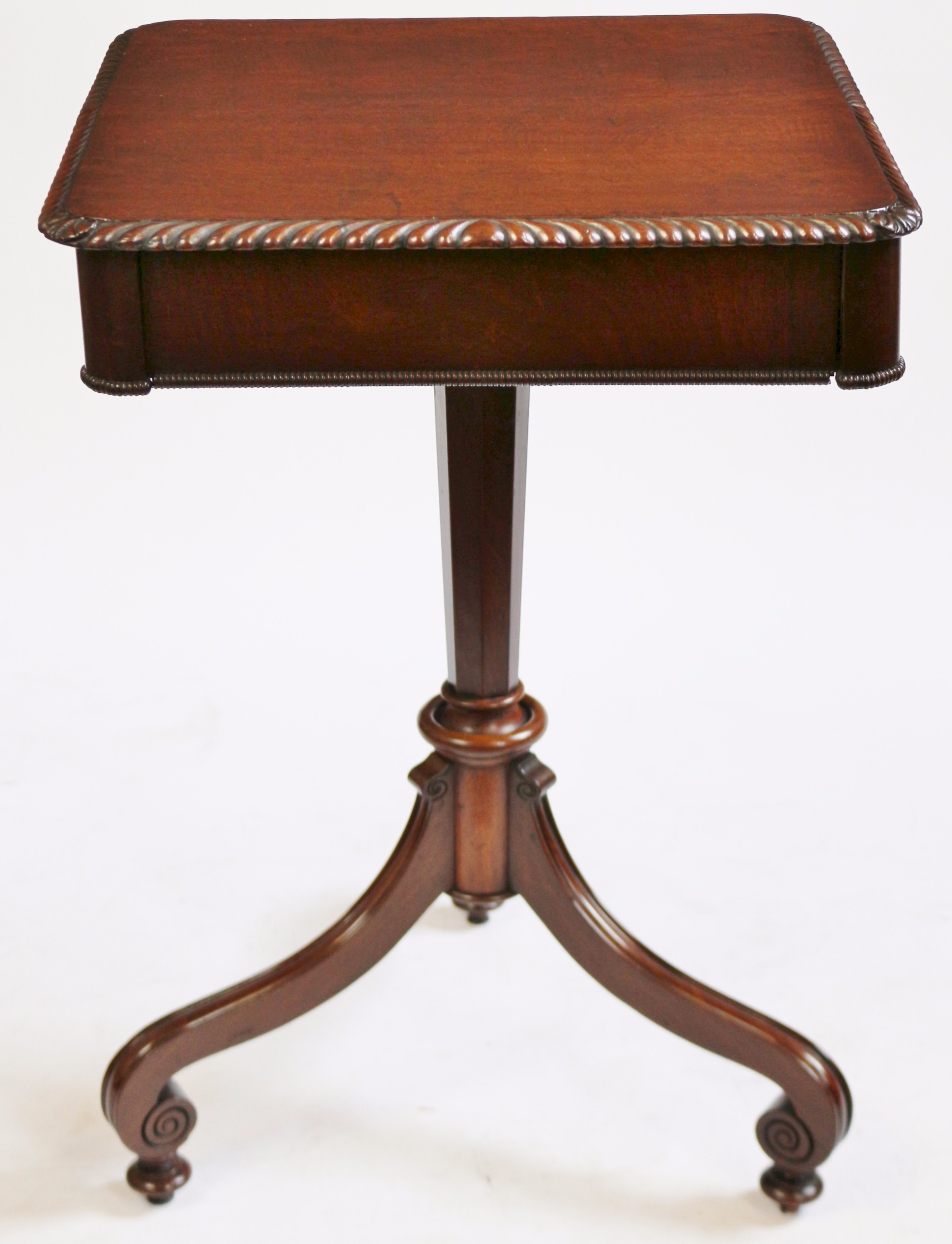 george 1v mahogany 1 drawer lamp table on tripod pedestal base