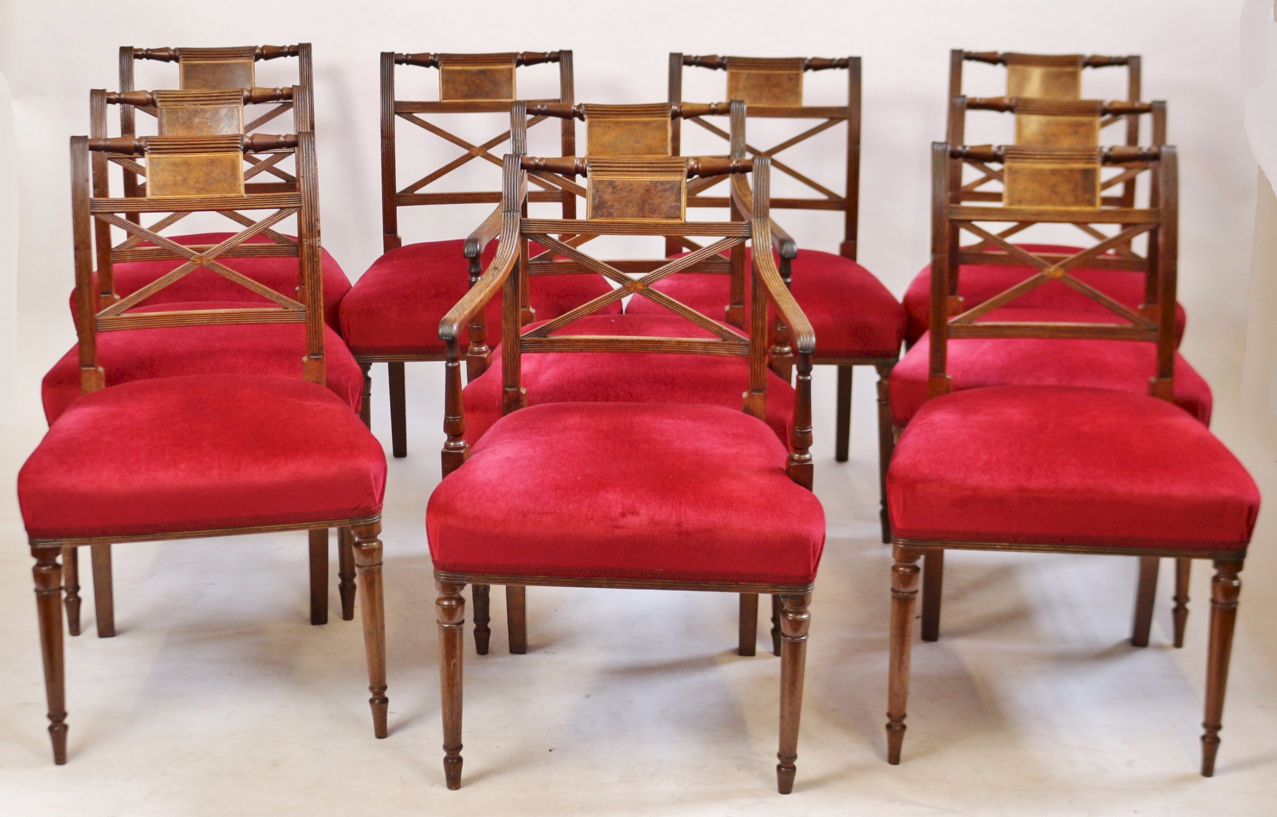 Fine Regency Set 10 Mahogany Dining Chairs Including A Pair