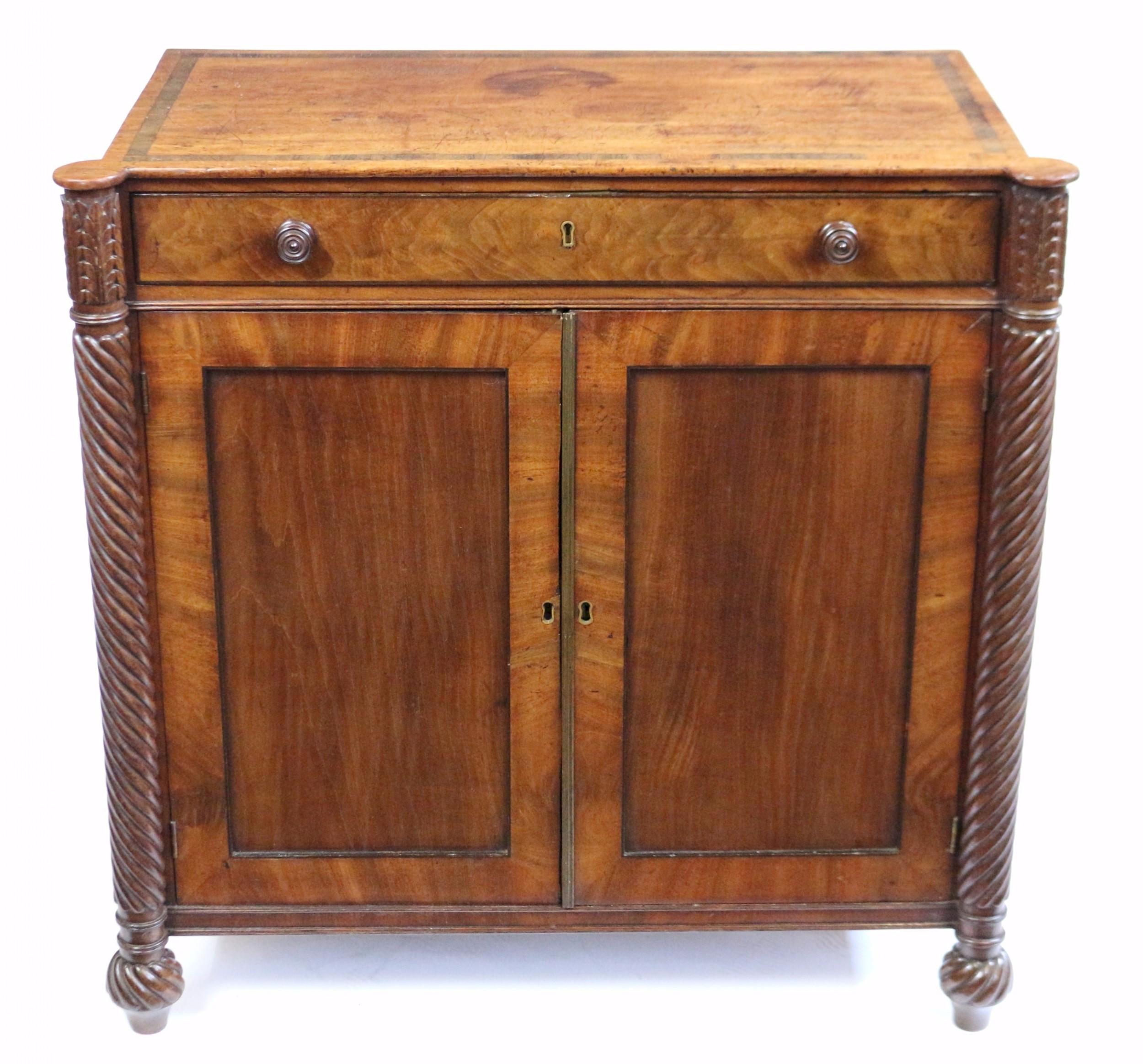 regency mahogany 2 door side cupboard with frieze drawer