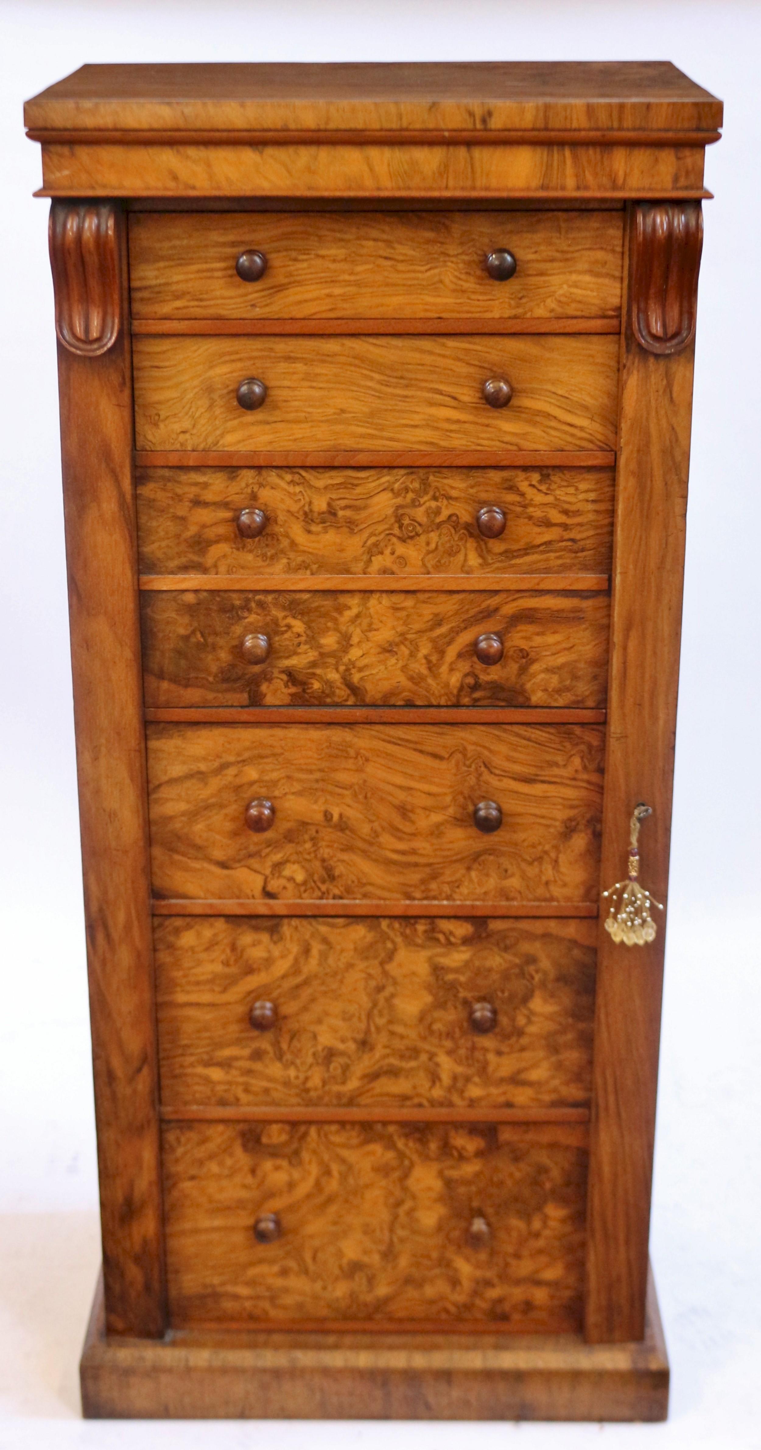 victorian figured walnut secretaire wellington chest