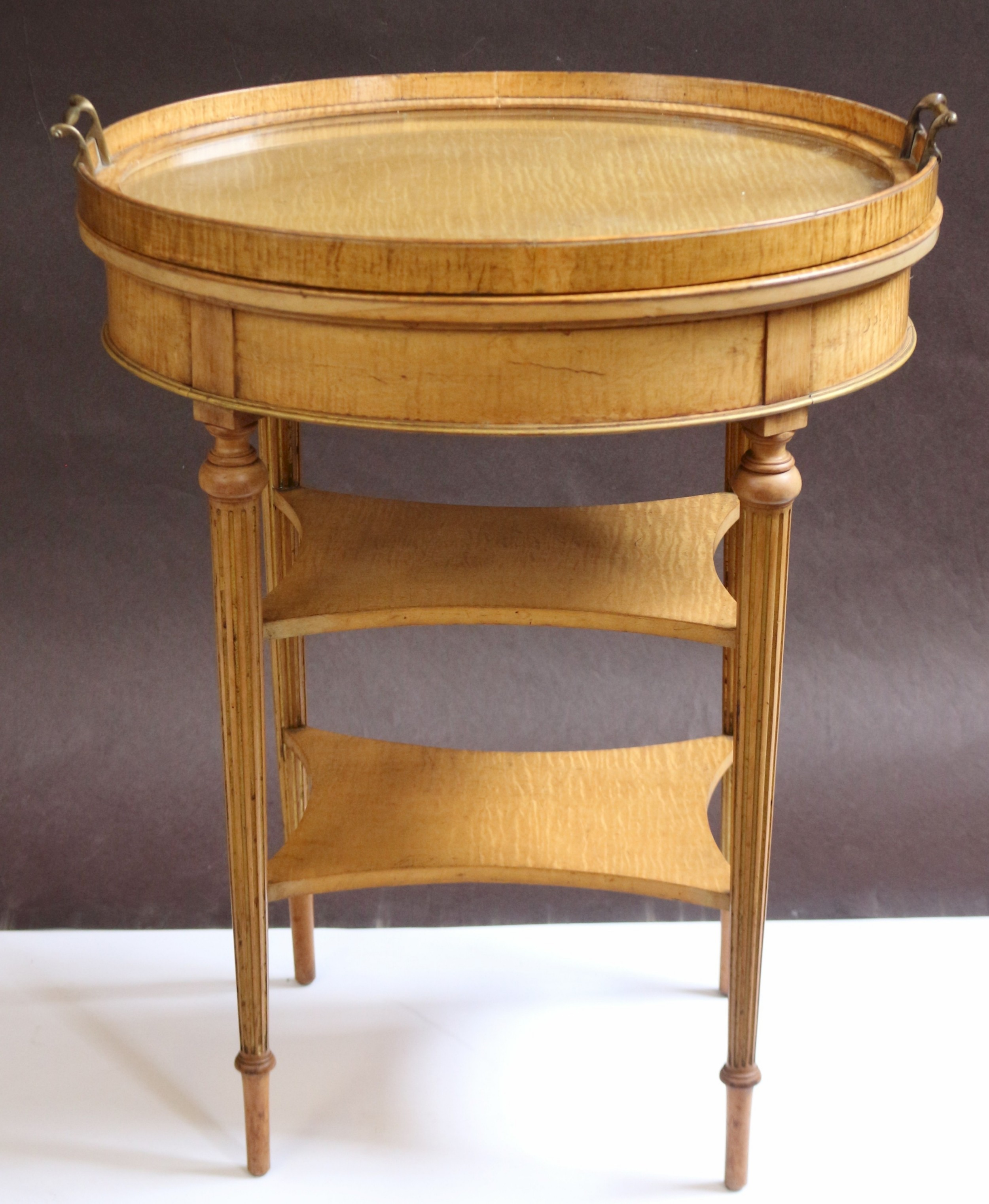 edwardian feathered maple oval 3 tier tray top tea table