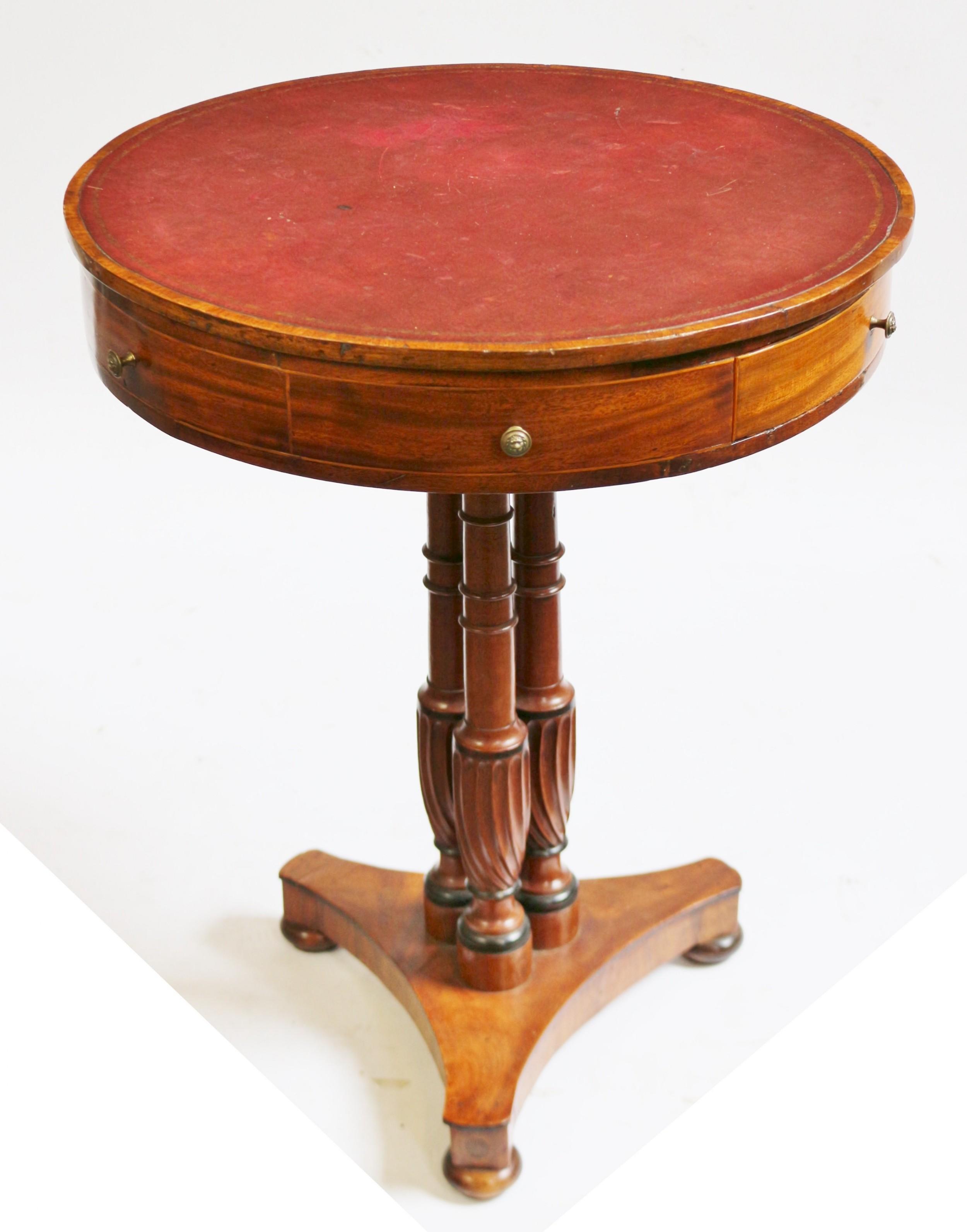regency mahogany small 2 drawer drum table