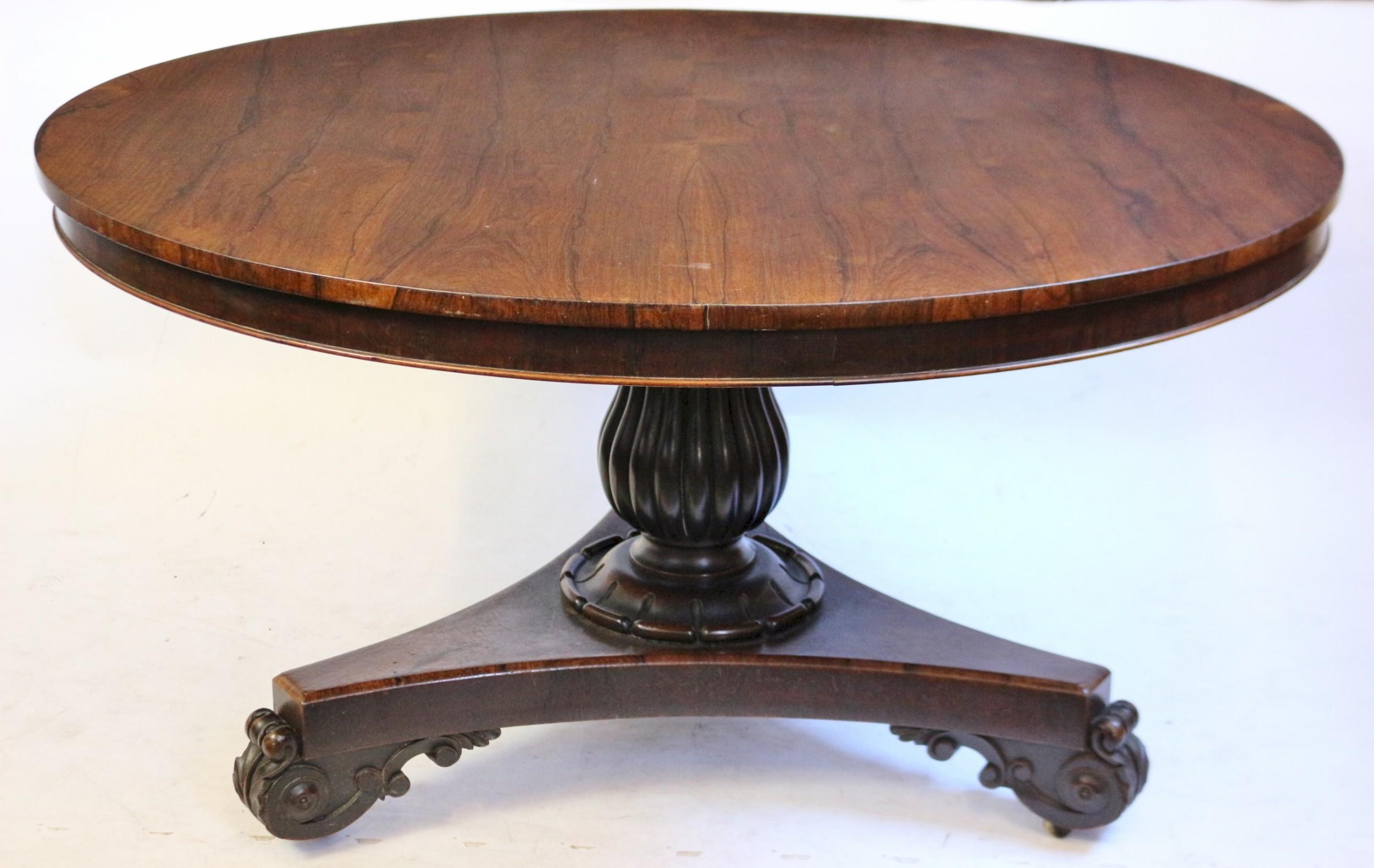 william 1v rosewood 54 tilt top circular pedestal centre table