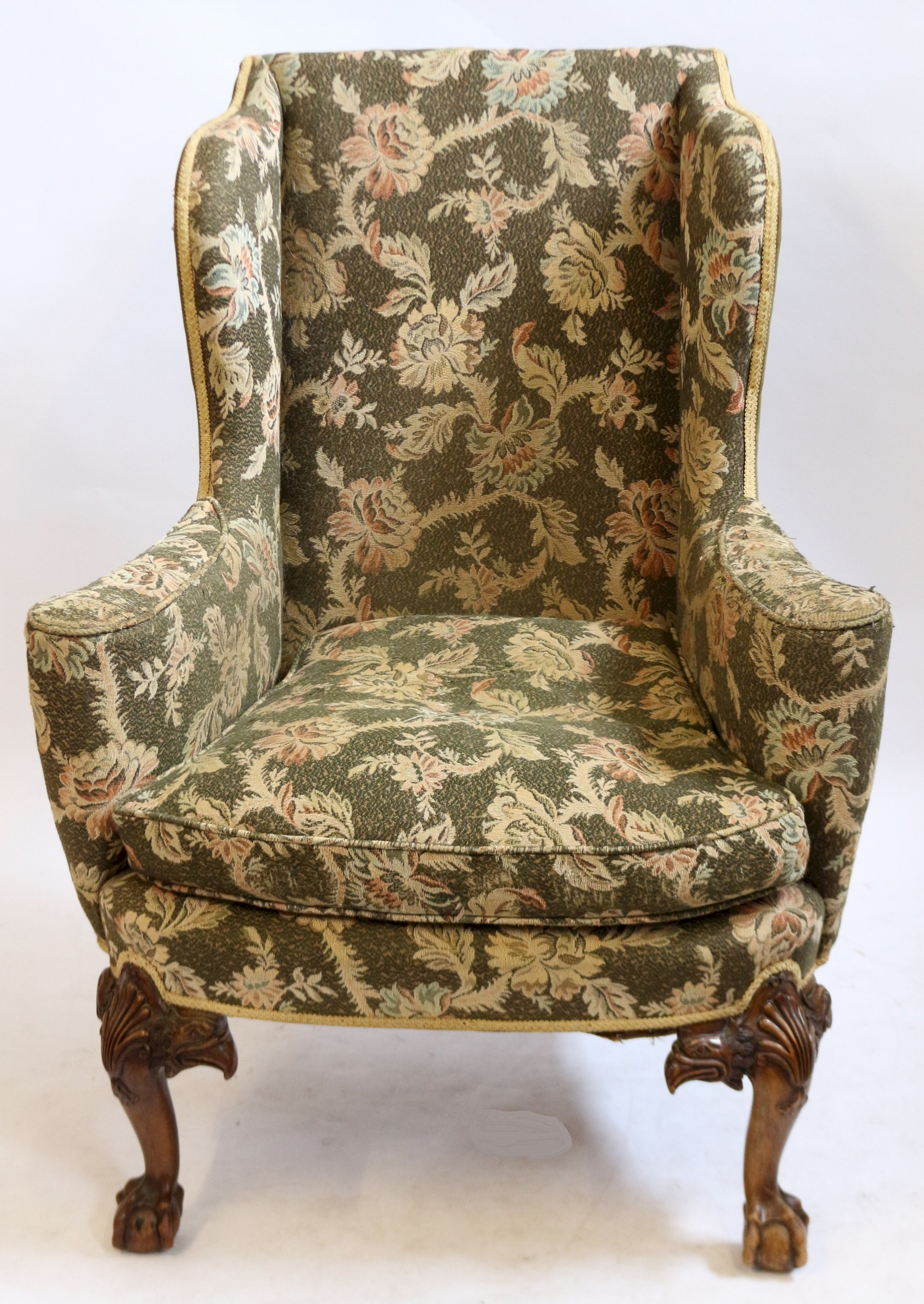 c1920 'queen anne' style walnut wing chair on cabriole legs