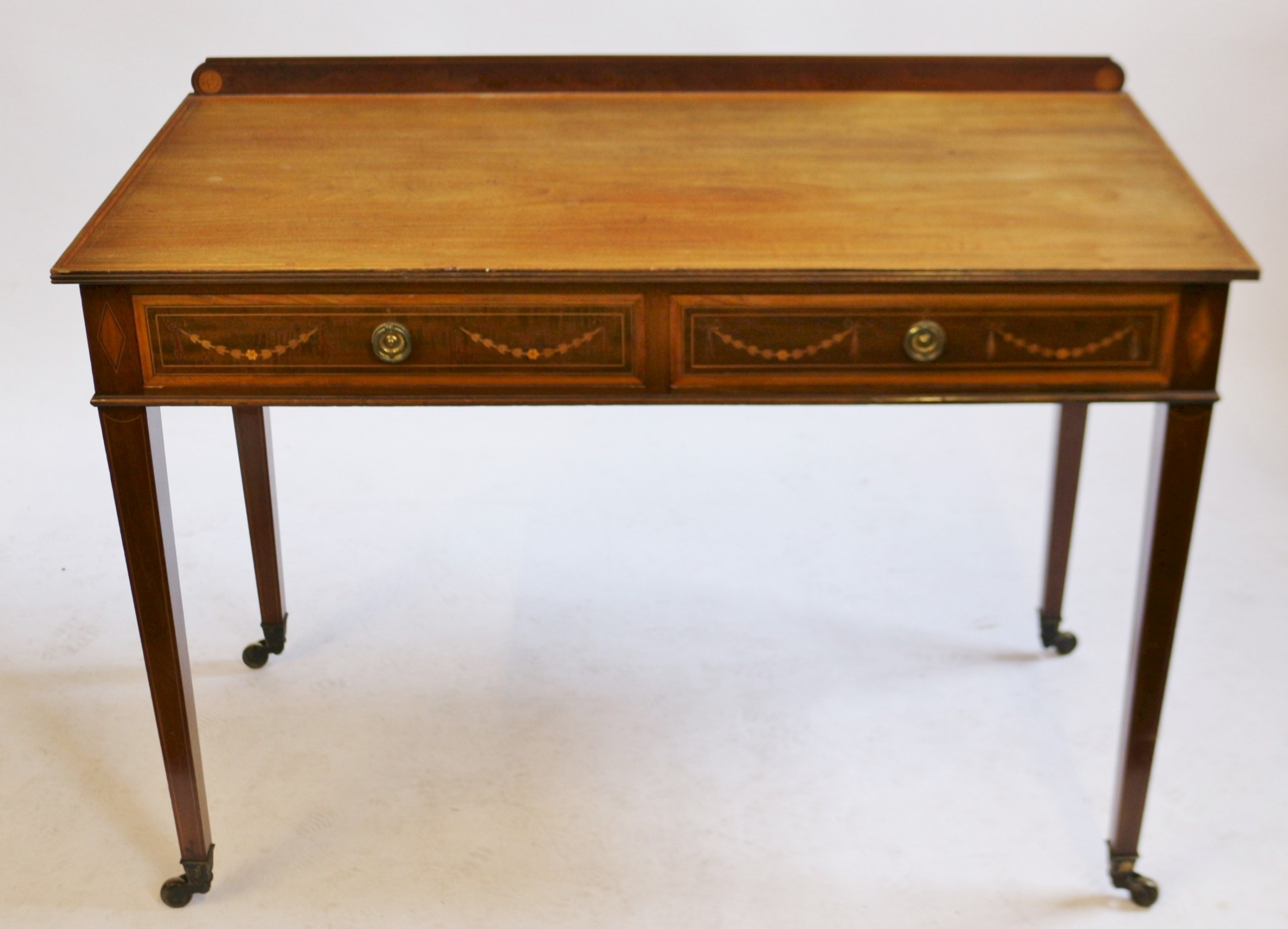 edwardian mahogany inlaid 2 drawer side table