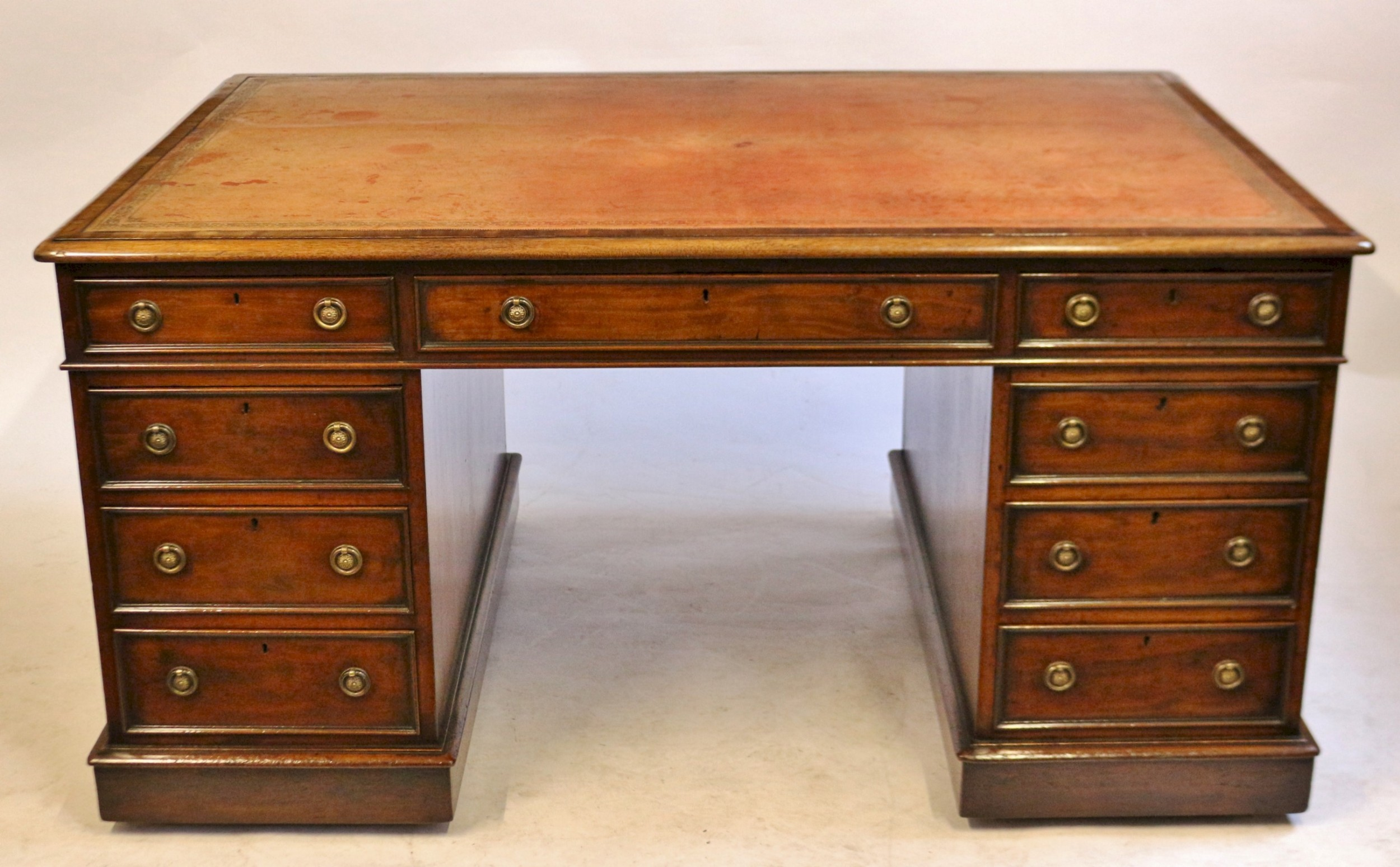 good quality early victorian mahogany 3 part partners desk