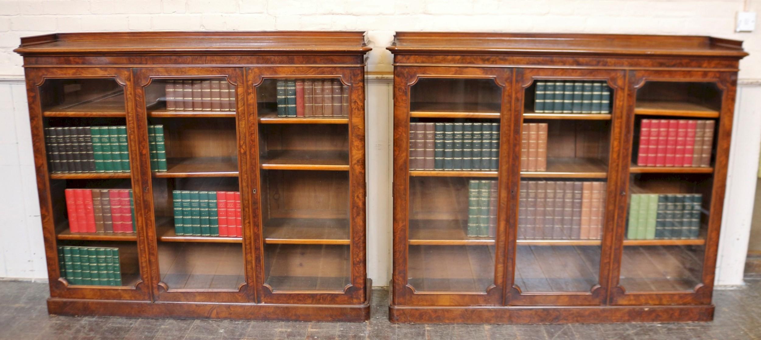 fine pair of victorian figured walnut 3 door dwarf bookcases